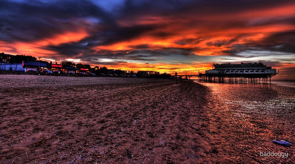 Sunset at Cleethorpes Pier. (Cleethorpes, UK) by baddoggy