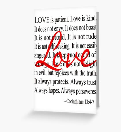 Love is Patient Love is Kind Corinthians Greeting Card