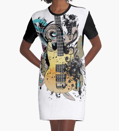 Gitarre mit Blumen T-Shirt Kleid