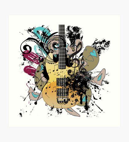 Gitarre mit Blumen Kunstdruck