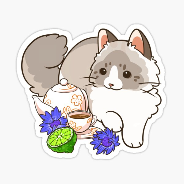 Earl Grey tea and Ragdoll cat Sticker
