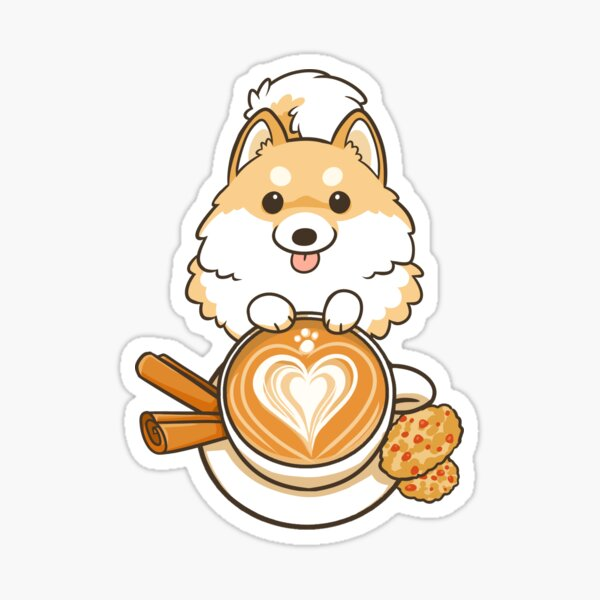 Cappuccino Pomeranian Sticker
