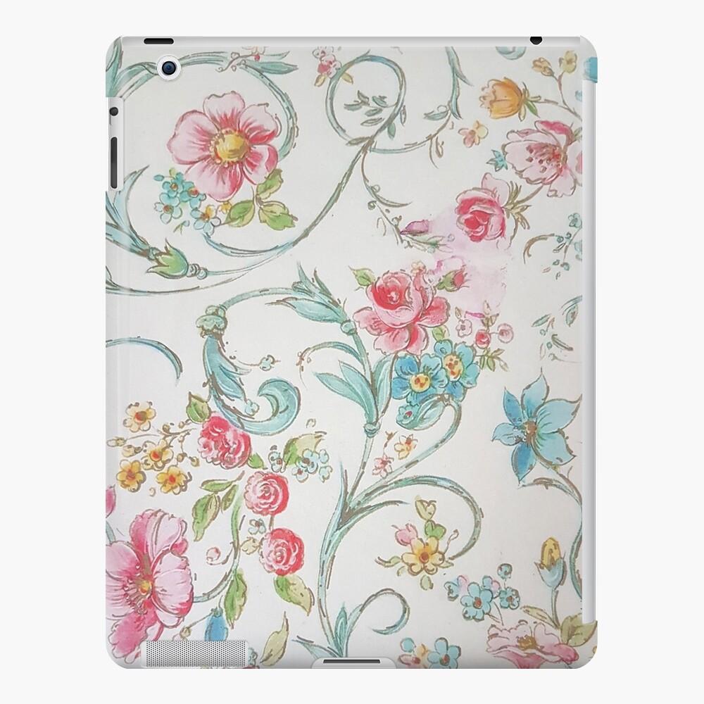 Estampado de flores bohemio de acuarela teal rosa vintage Funda y vinilo para iPad