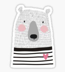 Cute card with hand drawn bear Sticker