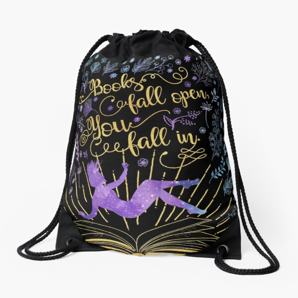 Books Fall Open, You Fall In Drawstring Bag