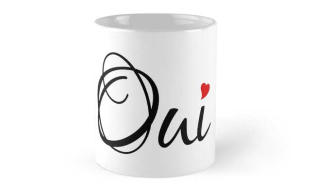Oui Yes French Word Art With Red Heart Mugs By Beakraus Redbubble