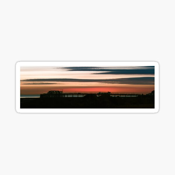 panorama of Worthing pier at sunset Sticker