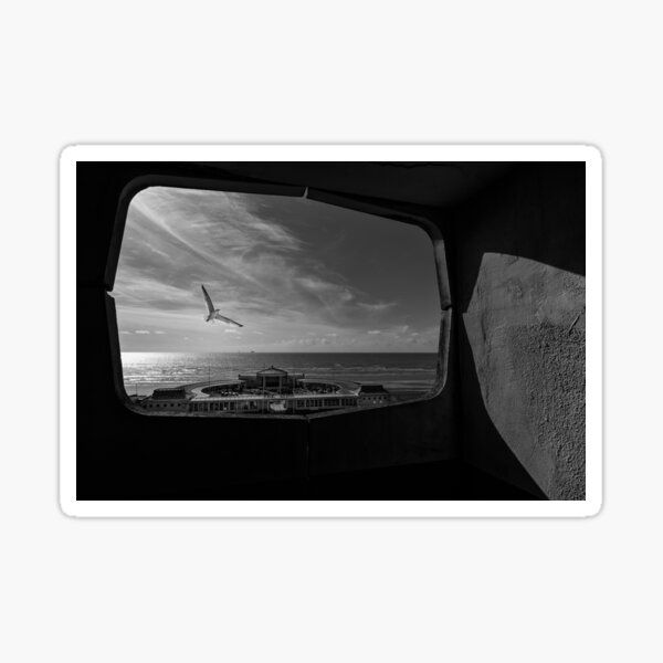Black and white view overlooking Worthing Seafront. Sticker