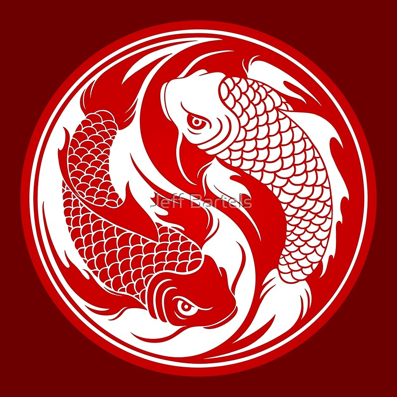 Red and white yin yang koi fish art prints by jeff for Red and white koi fish