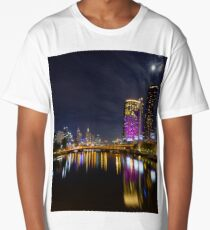 The Yarra River and Crown Towers by moonlight Long T-Shirt