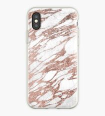 Chic Elegant White and Rose Gold Marble Pattern iPhone Case