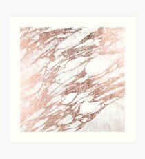 Chic Elegant White and Rose Gold Marble Pattern Art Print