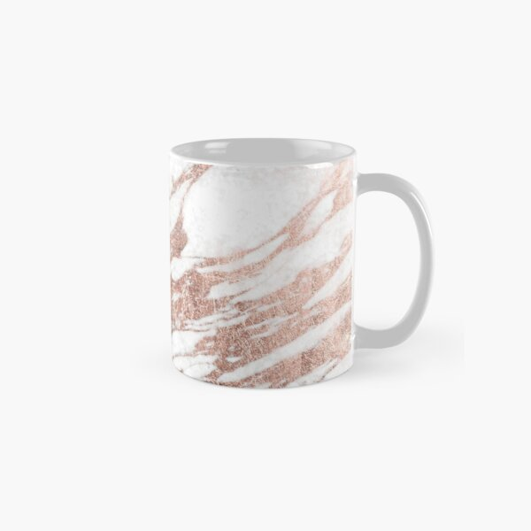 Chic Elegant White and Rose Gold Marble Pattern Classic Mug