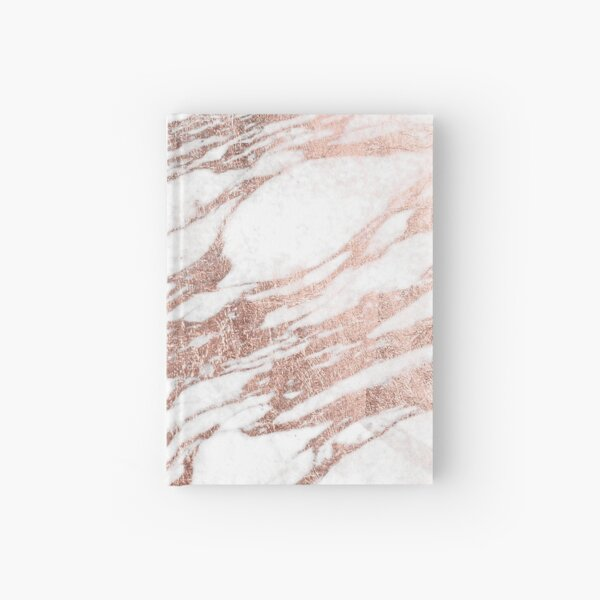 Chic Elegant White and Rose Gold Marble Pattern Hardcover Journal