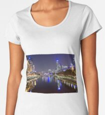 Iconic Melbourne: The Yarra River by Night Women's Premium T-Shirt