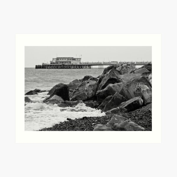 black and white view of Worthing pier Art Print