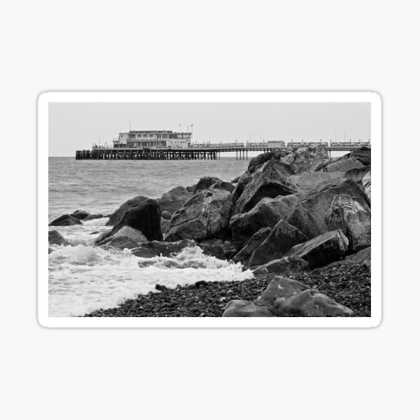black and white view of Worthing pier Sticker