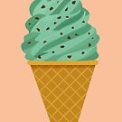 Mint Chocolate Ice Cream Cone by latheandquill