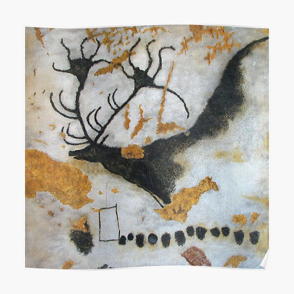 Cave. Stag. Lascaux Cave. Cave at Lascaux. Megaloceros, with line of dots. Poster