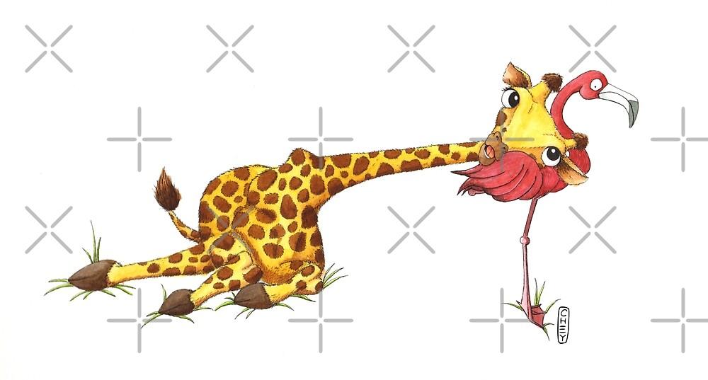 Giraffe and Flamingo by tallncurly