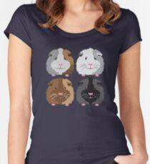Vier Schweinchen (Meerschweinchen) Tailliertes Rundhals-Shirt