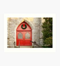 Church Doors in December Art Print