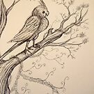 A Cockatiel on a branch by Extreme-Fantasy
