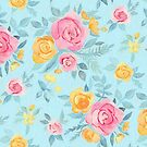Chalk Pastel Pink & Orange Roses on Sky Blue by micklyn