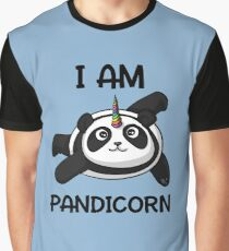 Pandicorn Funny Panda Bear Cartoon Fantasy Rainbow Graphic T-Shirt