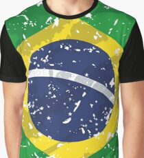 Brazil Grunge Vintage Flag Graphic T-Shirt