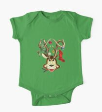 Cute Reindeer With Christmas Ornaments And Stockings On Antlers One Piece - Short Sleeve