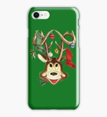 Cute Reindeer With Christmas Ornaments And Stockings On Antlers iPhone Case/Skin