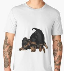 Rottweiler Puppies Playing Vector Isolated Men's Premium T-Shirt
