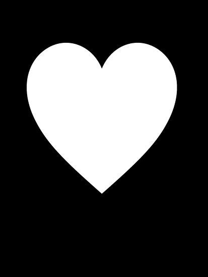 Pósters Corazón Blanco Corazón De Amor Puro Y Simple En Negro