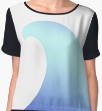 Ocean, Wave, Surfer, Surf, Surfing, Tsunami, Water Women's Chiffon Top