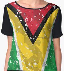 Guyana Grunge Vintage Flag Chiffon Top