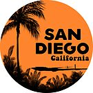 SURFING SAN DIEGO CALIFORNIA RETRO PALMS SURFER BEACH 2 by MyHandmadeSigns