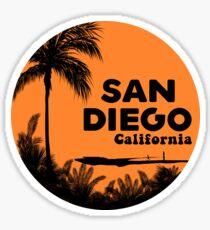 SURFING SAN DIEGO CALIFORNIA RETRO PALMS SURFER BEACH 2 Sticker