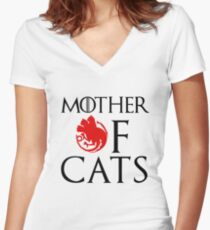 Mother of Cats - House Catgaryen Women's Fitted V-Neck T-Shirt