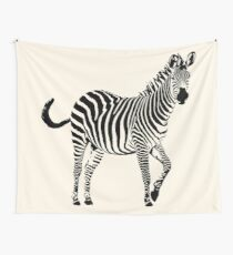 Frisky Zebra in Black and White | African Wildlife Wall Tapestry
