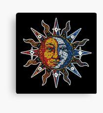 Celestial Mosaic Sun/Moon Canvas Print