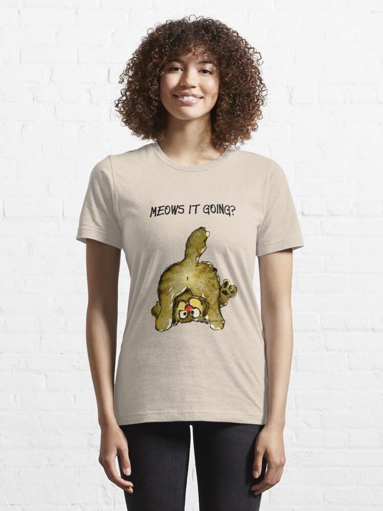 Alternate view of Meows It Going Cat Cartoon Essential T-Shirt
