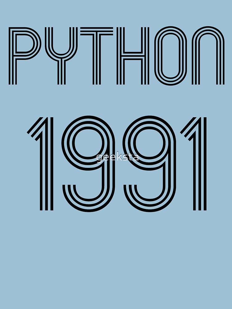 Python 1991 Year of 1st Release - Black Text Programmer Design by geeksta