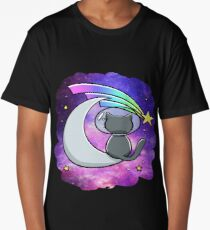 Cool Space T-Shirt - Vintage Hipster Moon Cat Long T-Shirt