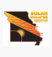 2017 Solar Eclipse Across Missouri Cities Map Illustration Photographic Print