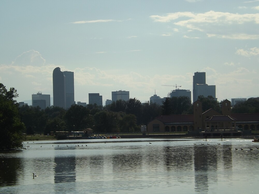 Denver Skyline, Lake, City Park, Denver Colorado  by lenspiro
