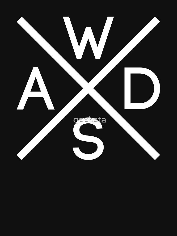 WASD Keys Hardcore Computer Gamer/Rocker - White Text Design by geeksta