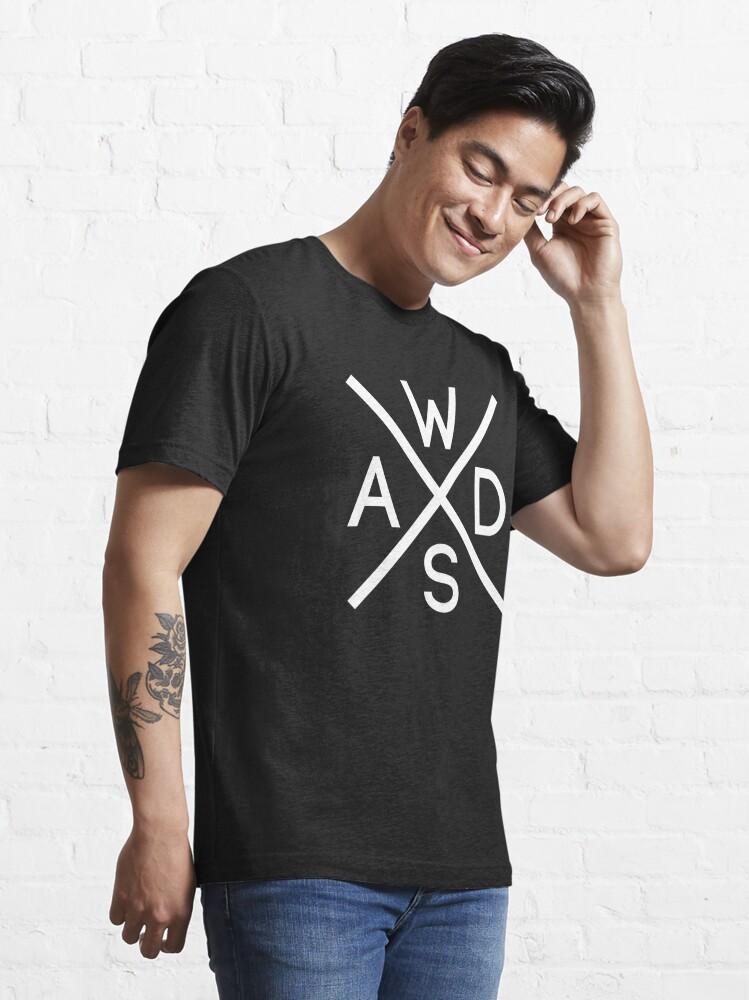 Alternate view of WASD Keys Hardcore Computer Gamer/Rocker - White Text Design Essential T-Shirt