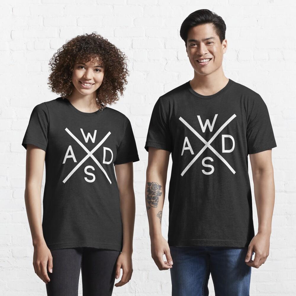 WASD Keys Hardcore Computer Gamer/Rocker - White Text Design Essential T-Shirt