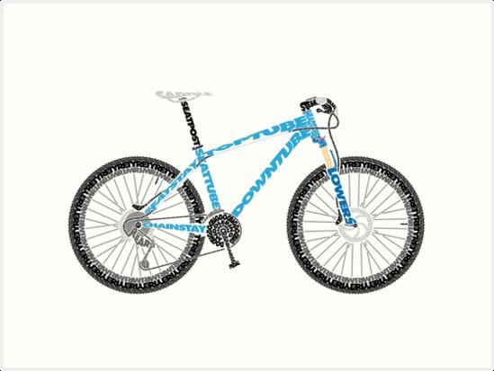 Typographical Anatomy Of A Mountain Bike Art Prints By Jarodface
